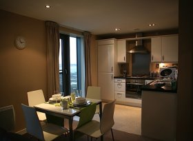 Serviced Apartments - Open Plan Kitchen and Lounge